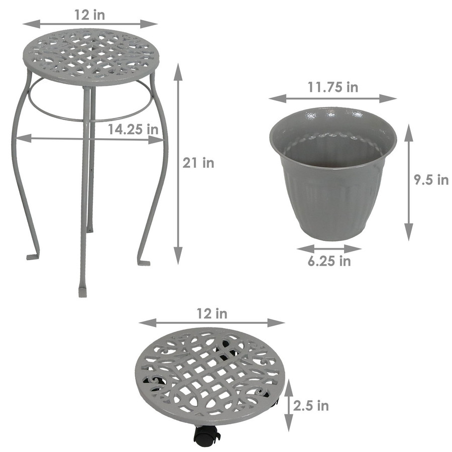 Dimensions of Cast Iron Planters, Plant Stand and Caddies with Wheels Set, Dark Gray
