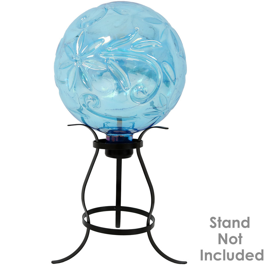 View of Blue Flower Pattern Gazing Globe Ball (Please Note, Stand is Not Included)