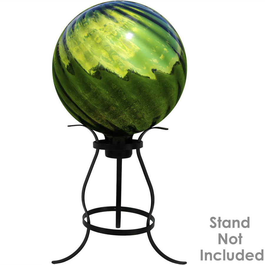 View of Green Rippled Mirrored Surface Gazing Globe Ball (Please Note, Stand is Not Included)