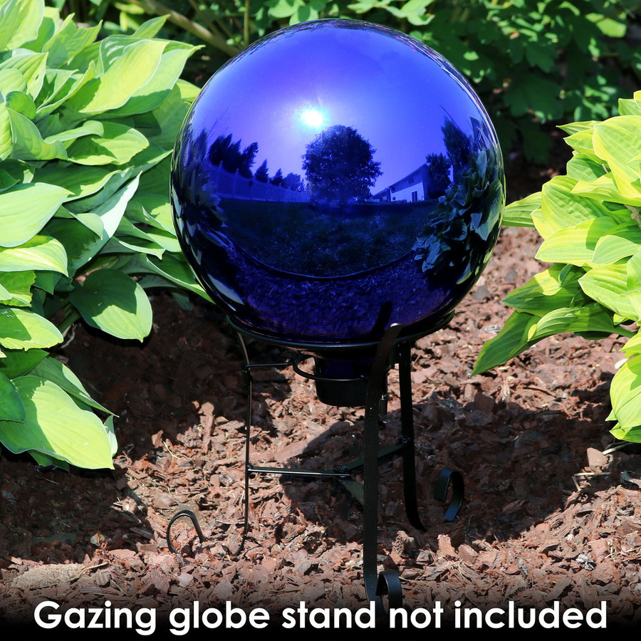 Sunnydaze Blue Mirrored Surface Gazing Globe Ball, 10-Inch