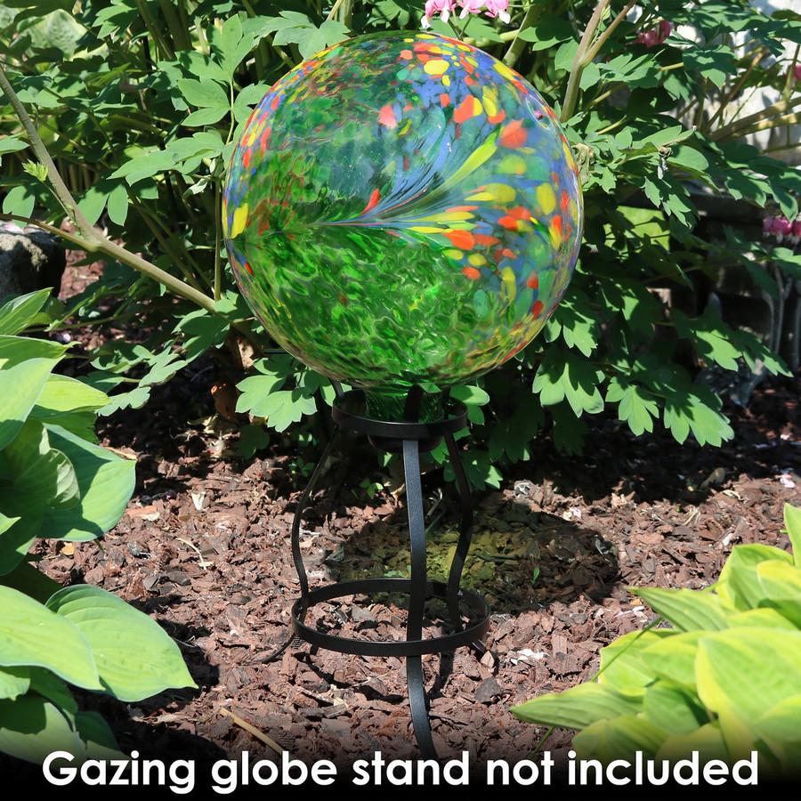 Sunnydaze Green Artistic Glass Gazing Ball Globe, 10-Inch