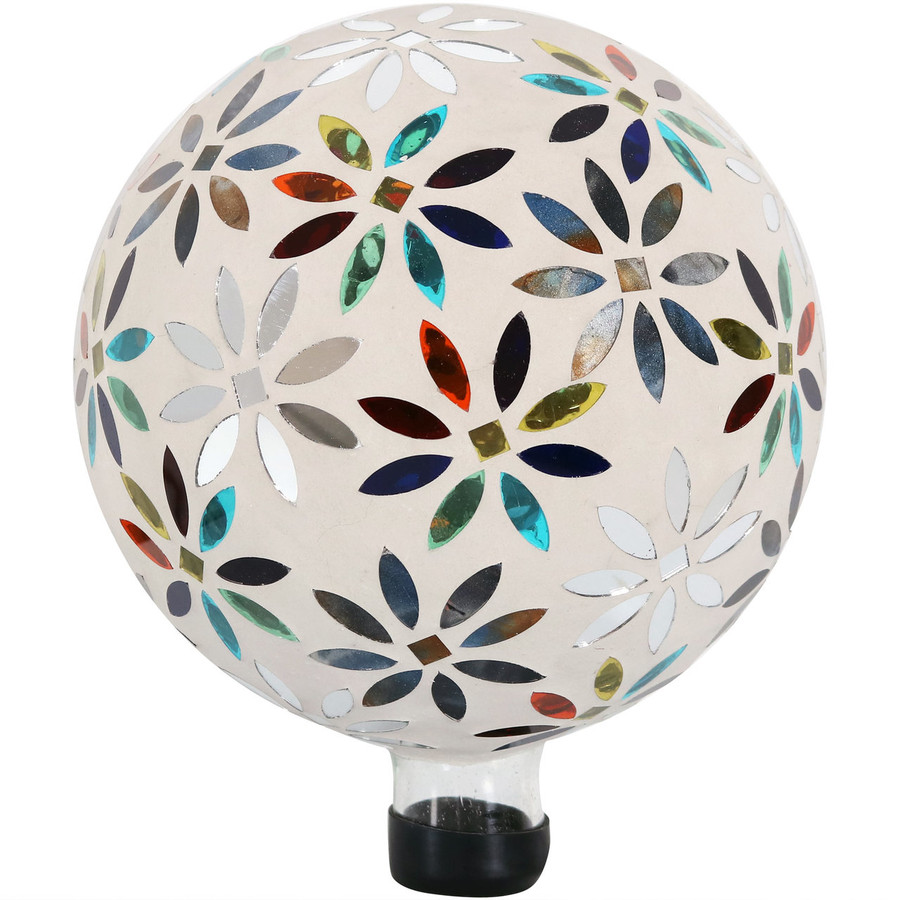 View of Multi-Colored Mosaic Flowers Gazing Globe