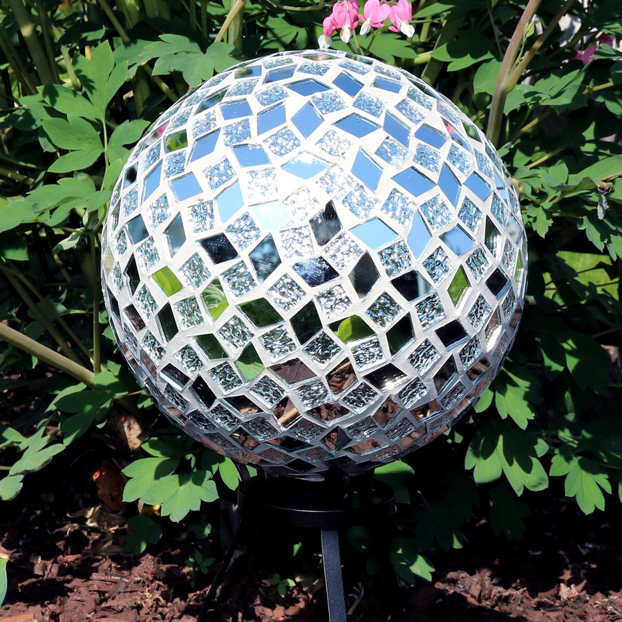 View of the Mirrored Diamond Mosaic Gazing Globe Ball (Please Note, Stand is Not Included)