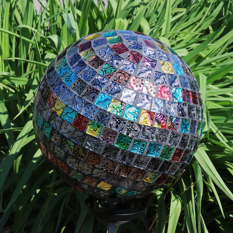 View of the Multi-Colored Tiled Mosaic Gazing Globe Ball (Please Note, Stand is Not Included)