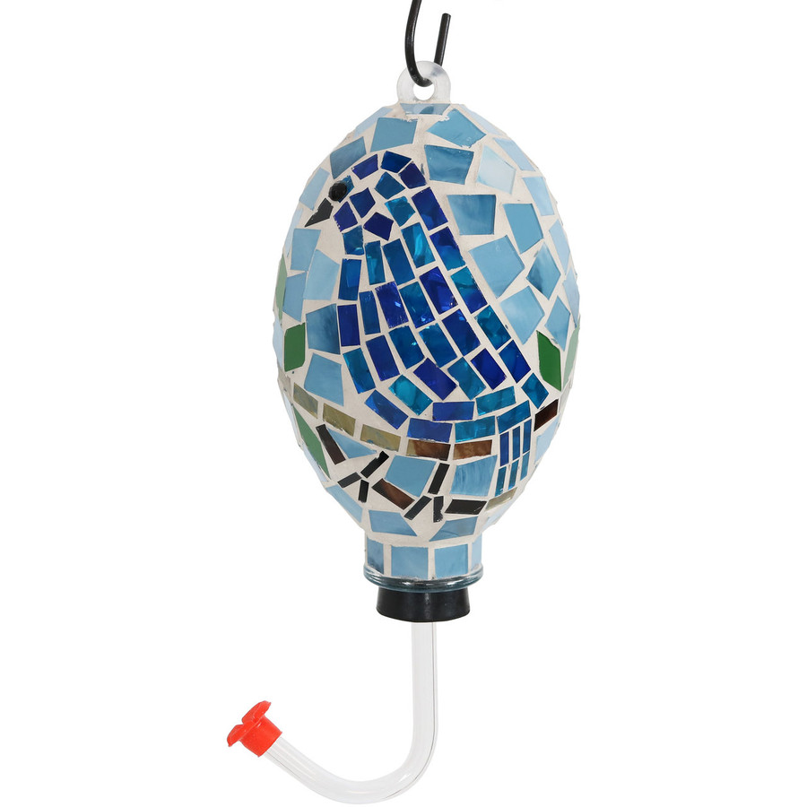 Sunnydaze Mosaic Bluebird Outdoor Hummingbird Feeder, 6-Inch
