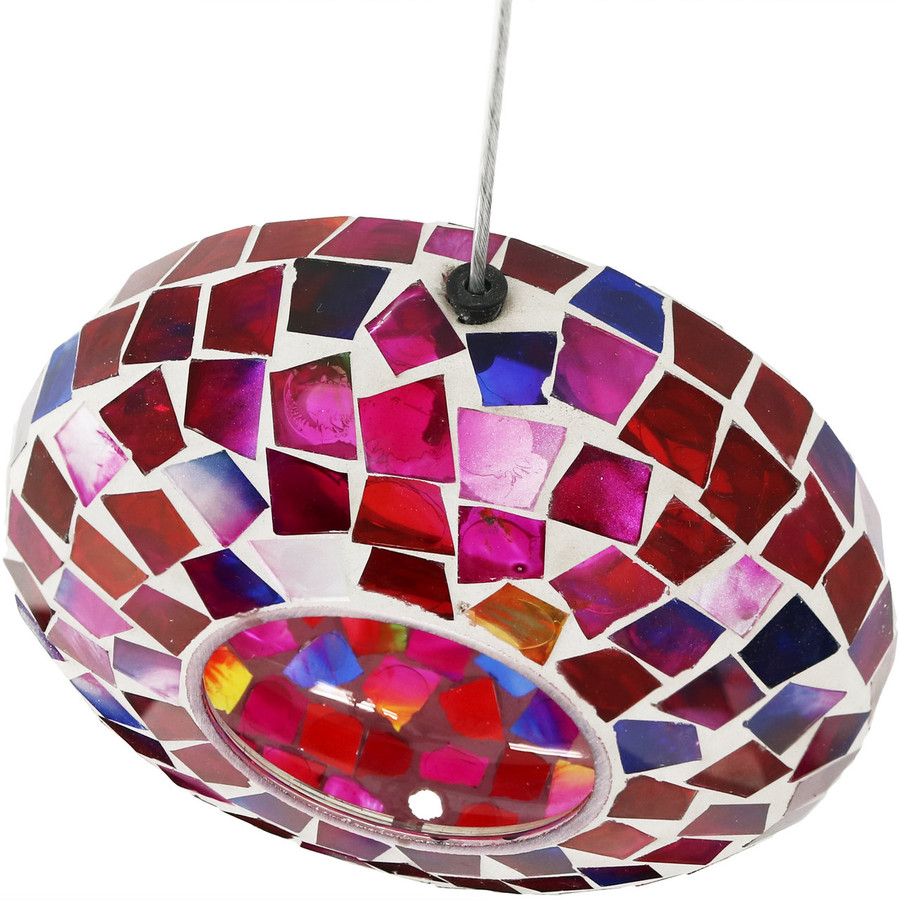 Sunnydaze Crimson Mosaic Fly-Through Hanging Outdoor Bird Feeder, 7-Inch