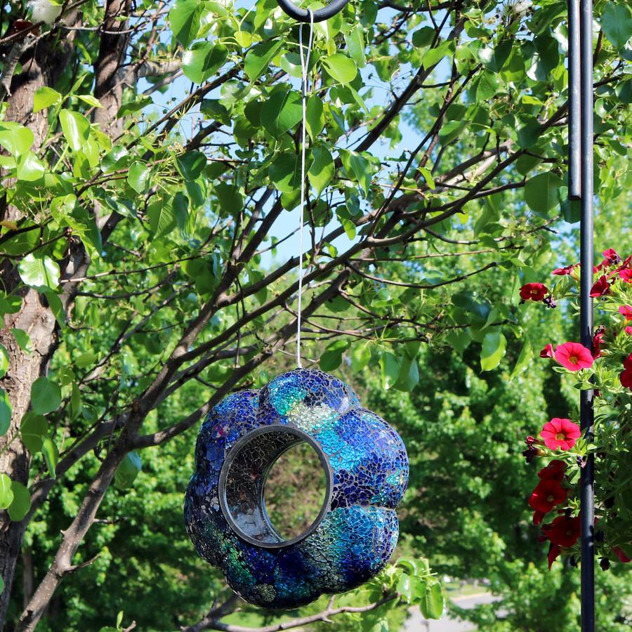 Sunnydaze Indigo Flower Fly-Through Hanging Outdoor Bird Feeder, 9-Inch