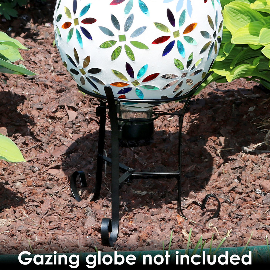 Sunnydaze Black Steel Traditional Style Gazing Globe Stand for 10-Inch or 12-Inch Gazing Balls, 9-Inch Tall