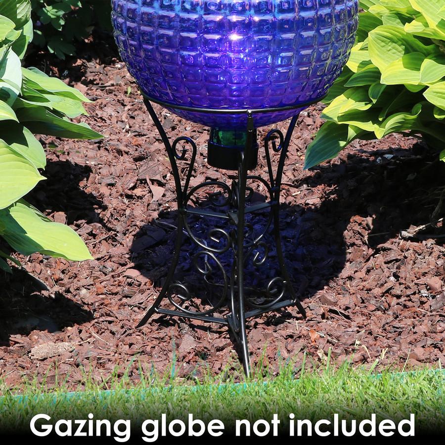 Sunnydaze Black Steel Decorative Scroll Outdoor Gazing Ball Stand for 10-Inch or 12-Inch Gazing Balls, 11-Inch
