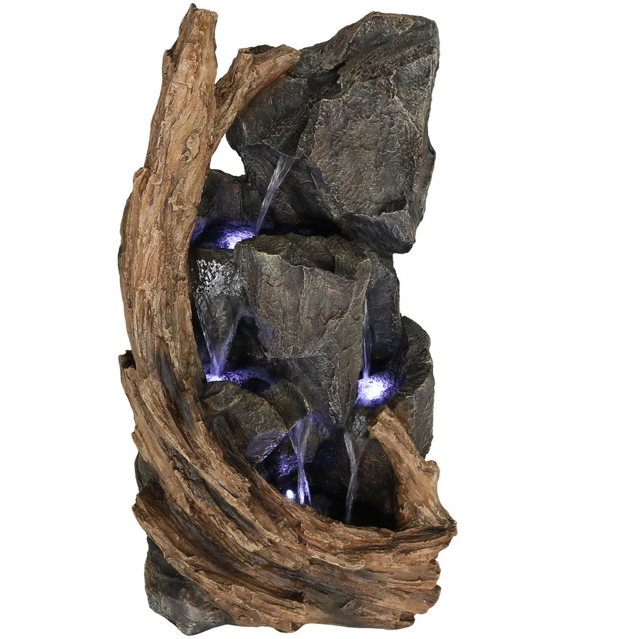 Sunnydaze Cascading Mountainside Outdoor Water Fountain with LED Lights, 35-Inch Tall