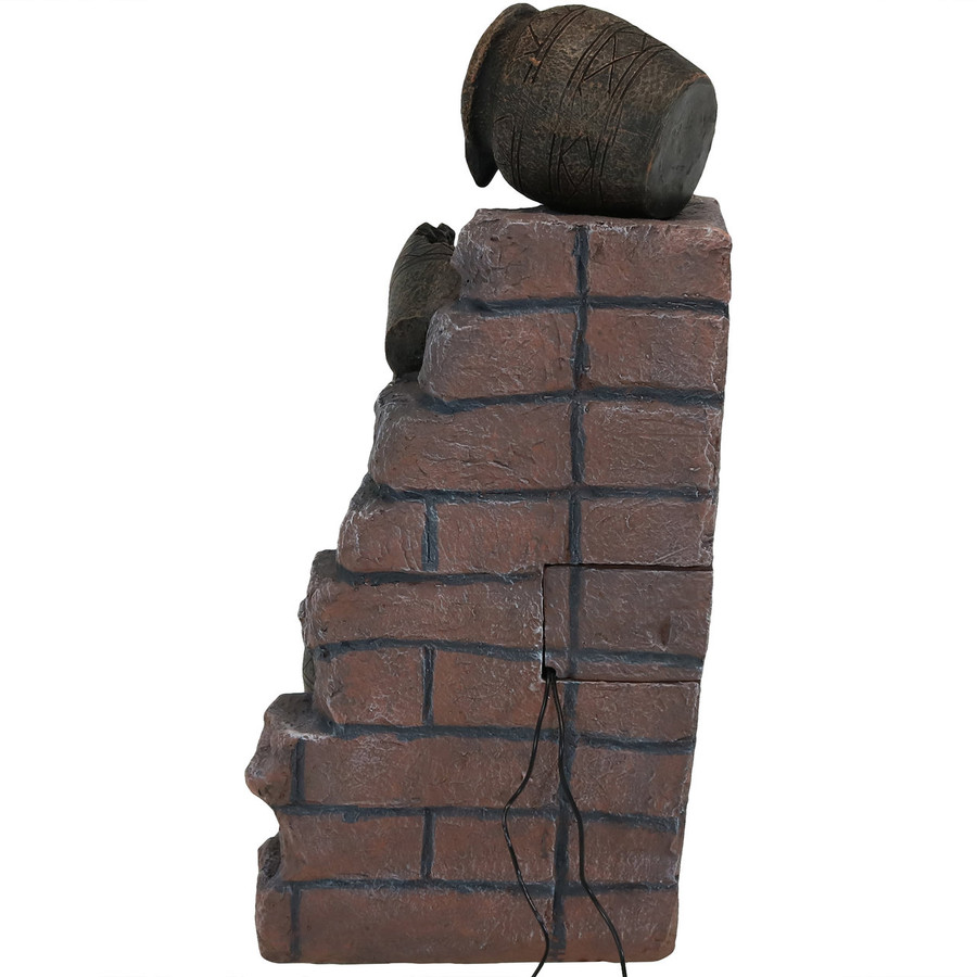 Sunnydaze Crumbling Bricks and Pots Solar-on-Demand LED Outdoor Water Fountain, 27-Inch Tall
