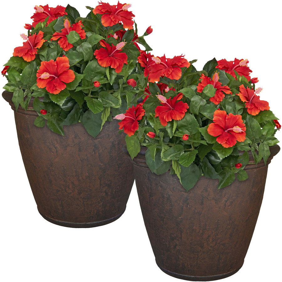 Anjelica 24-Inch Diameter Planter with Rust Finish, Set of 2