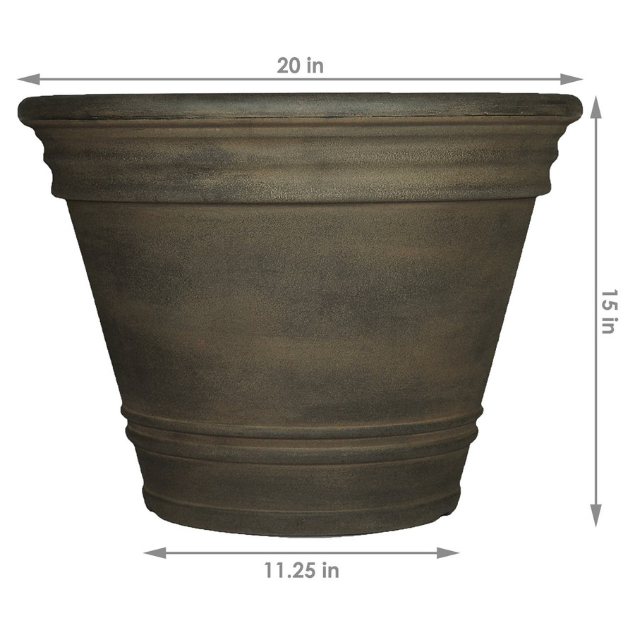 Sunnydaze Franklin Indoor and Outdoor Resin Planter, Sable Finish, 20-Inch Diameter