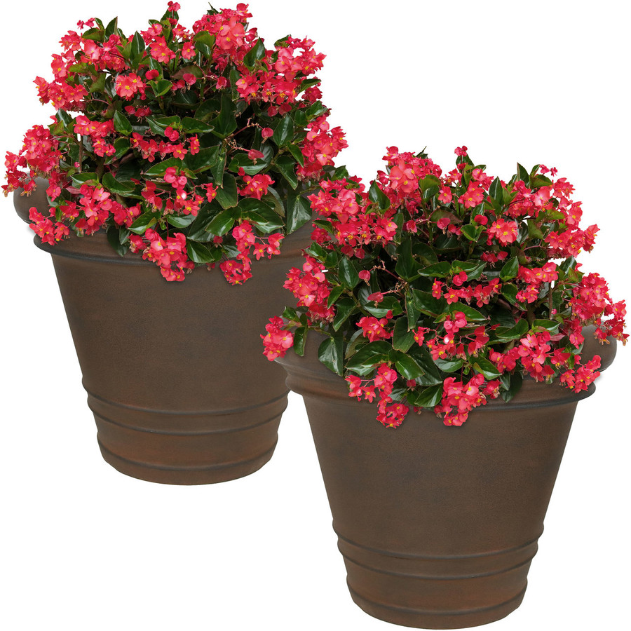 Crozier Indoor/Outdoor Rust Finish Planter, Set of 2