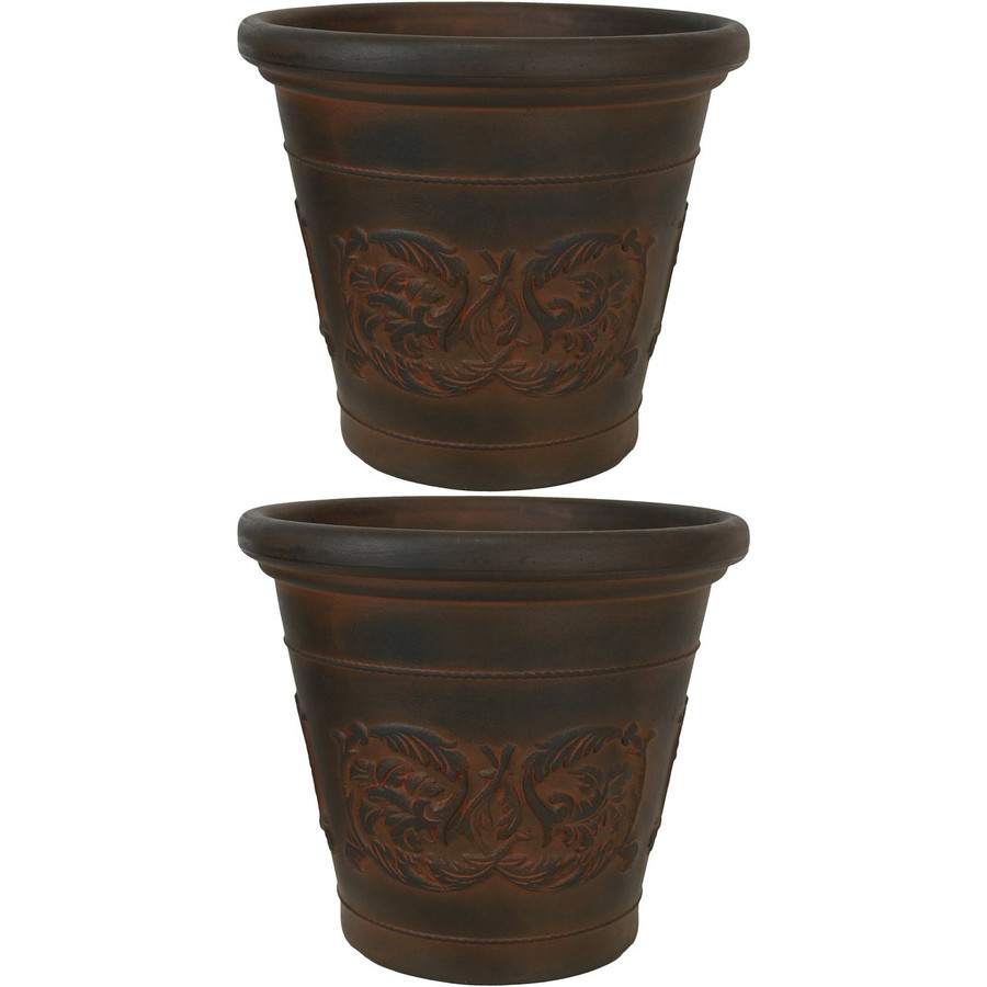 Arabella Rust 16-Inch Diameter Indoor/Outdoor Planter, Set of 2