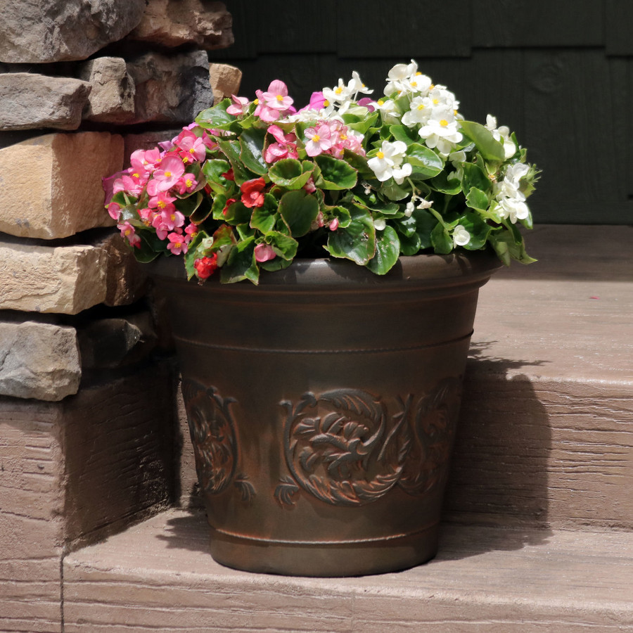 Arabella Rust 16-Inch Diameter Indoor/Outdoor Planter