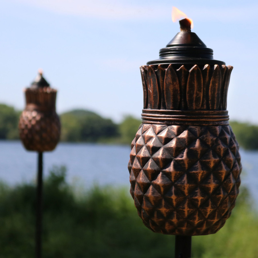 Closeup of the Pineapple Outdoor Torches