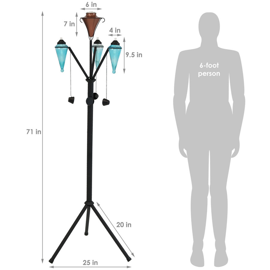 Dimensions of Multi-Arm Outdoor Torch Stand