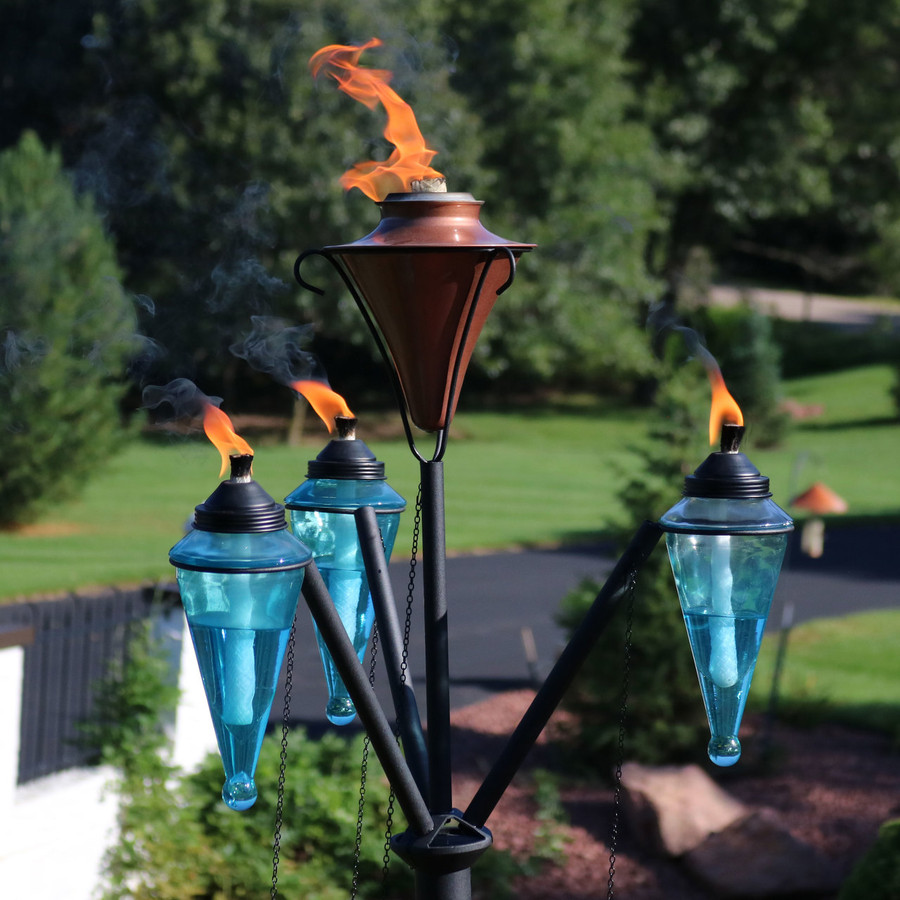 Closeup of Multi-Arm Outdoor Torch Stand