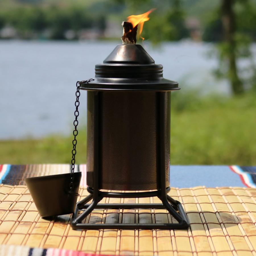 Closeup of Brown Outdoor Tabletop Metal Torch