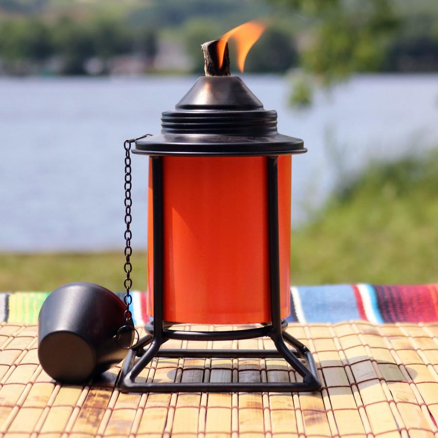 Closeup of Orange Outdoor Tabletop Metal Torch