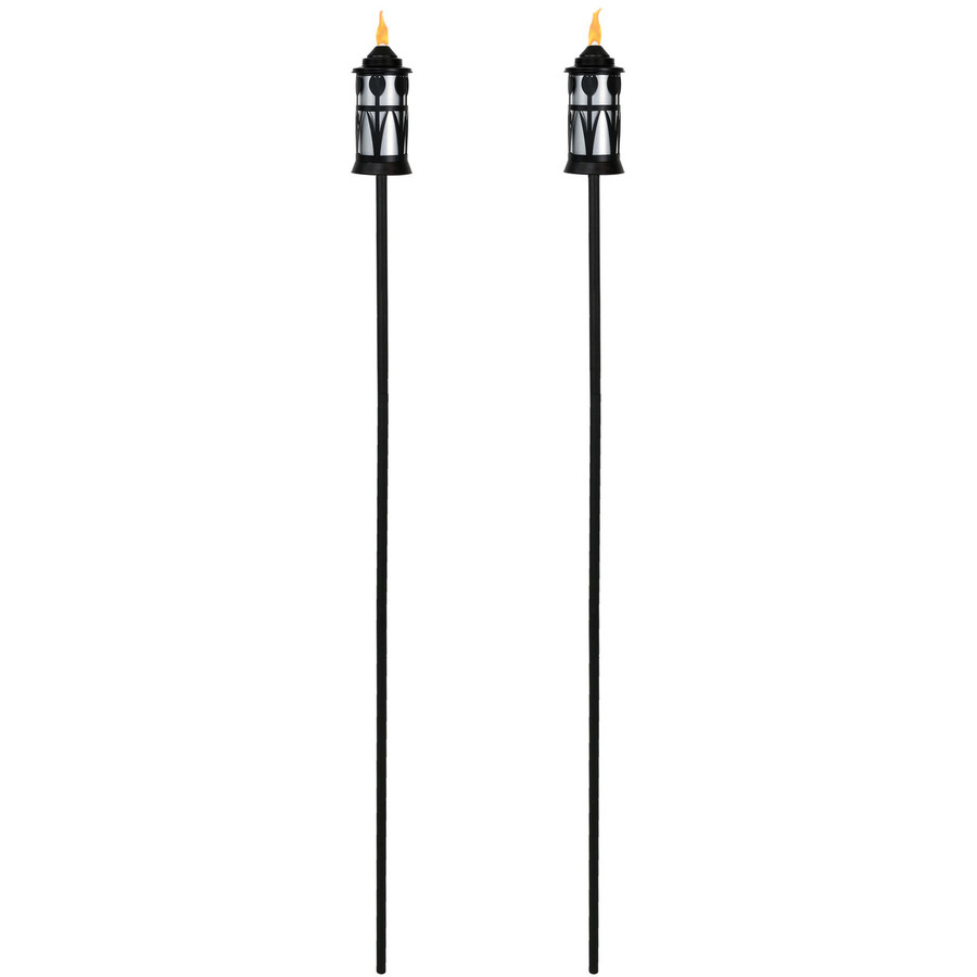 Black/Silver Full View of Copper Outdoor Torch with Tulip Jar Design, Set of 2