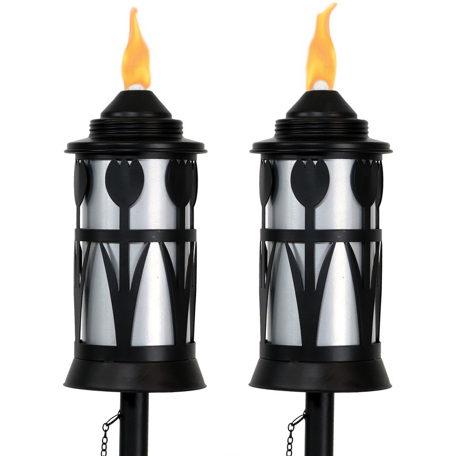 Black/Silver Outdoor Torch in Copper with Tulip Jar Design, Set of 2