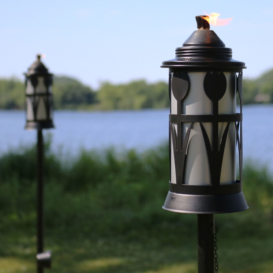 Closeup of Black/Silver Outdoor Torch in Copper with Tulip Jar Design