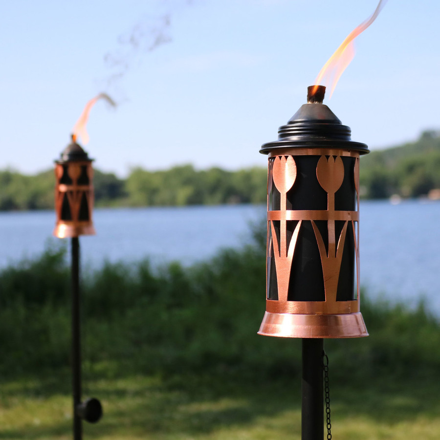 Closeup of Copper Outdoor Torch in Copper with Tulip Jar Design