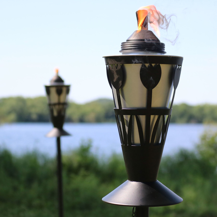 Closeup of Black/Silver Outdoor Torch in Copper with Tulip Design