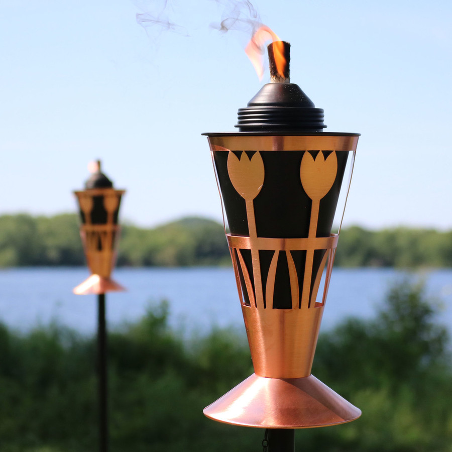 Closeup of Copper Outdoor Torch in Copper with Tulip Design