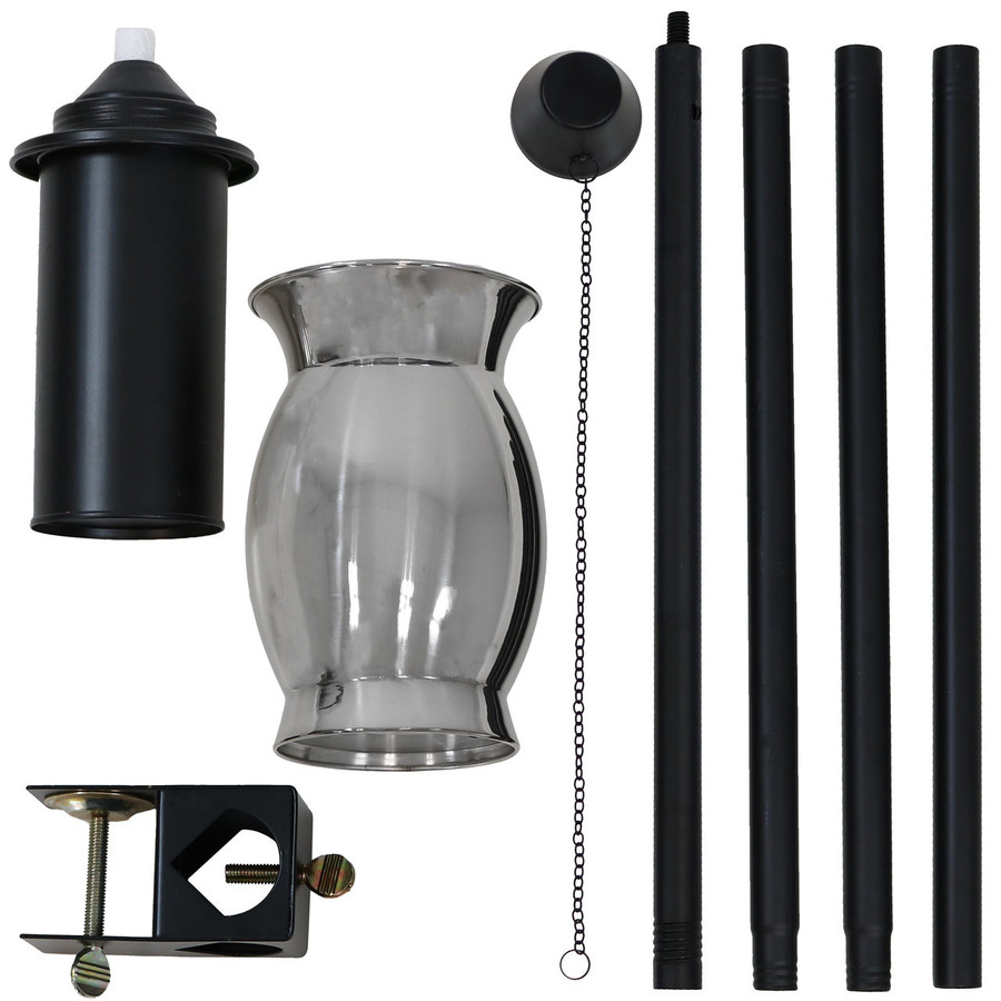 Components of Stainless Steel Outdoor Torch with Black Snuffer