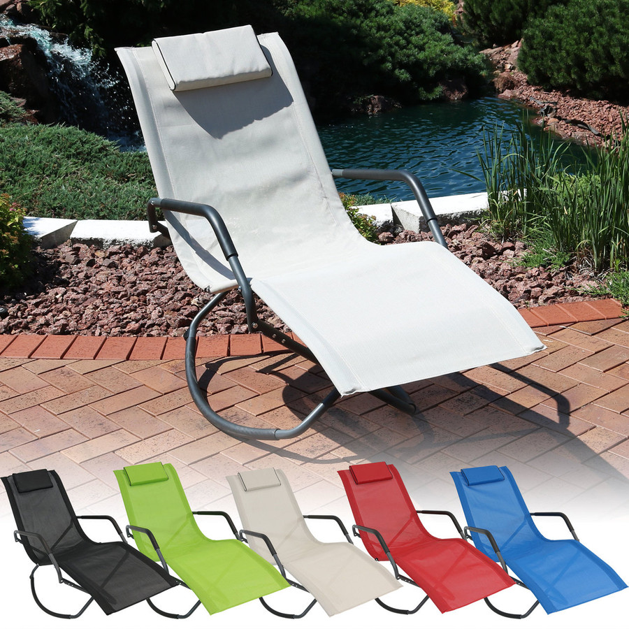 Outdoor Folding Rocking Chaise Lounge Chair with Headrest Pillow, Color Options