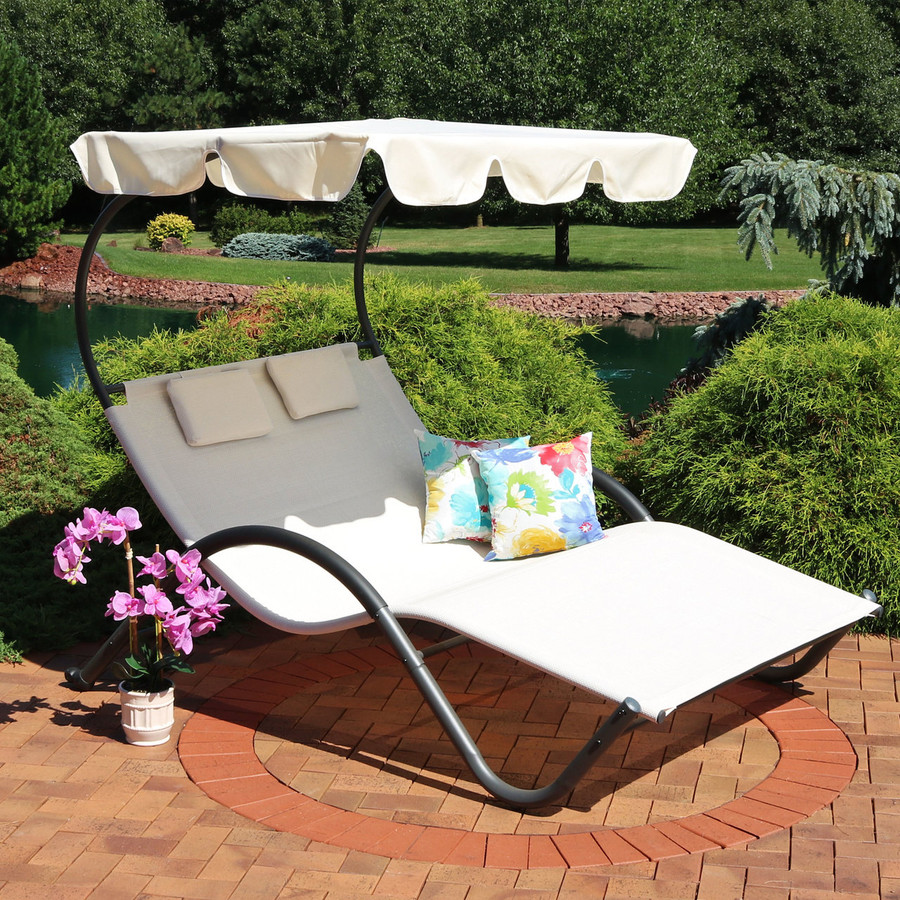 Double Chaise Lounge with Canopy and Headrest Pillows (Floral Accent Pillows Not Included)