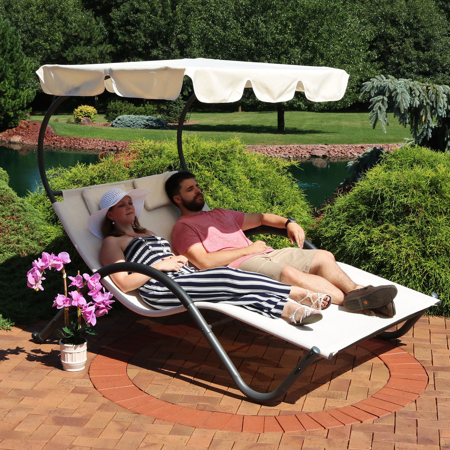 Double Chaise Lounge with Canopy and Headrest Pillows