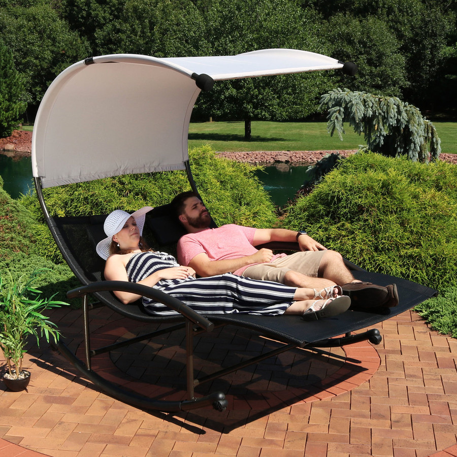 Double Chaise Rocking Lounge Chair with Canopy and Headrest Pillows,