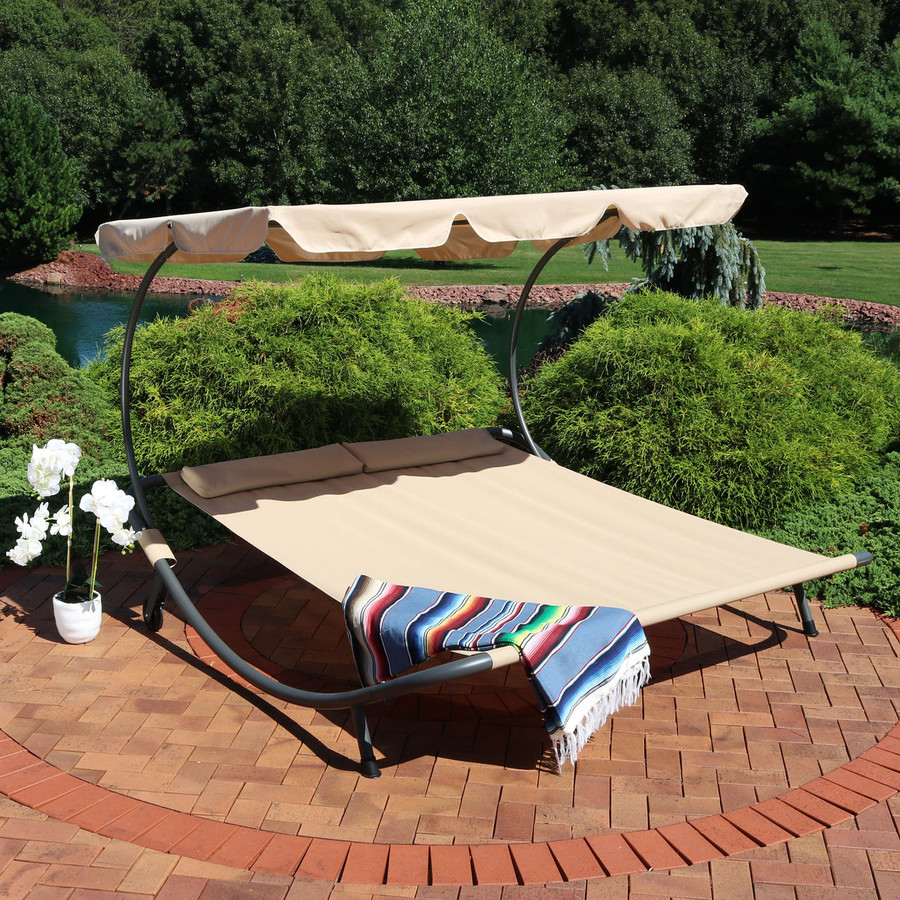 Double Modern Outdoor Lounging Bed with Canopy and Headrest Pillows