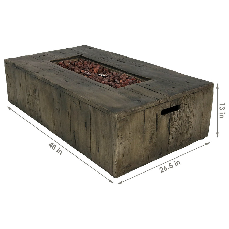 Dimensions of Rustic Faux Wood Outdoor Propane Gas Fire Pit Coffee Table