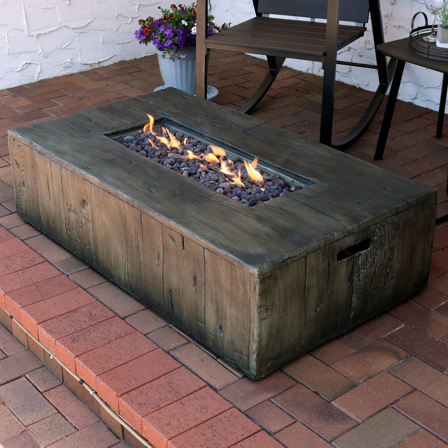 Rustic Faux Wood Outdoor Propane Gas Fire Pit Coffee Table