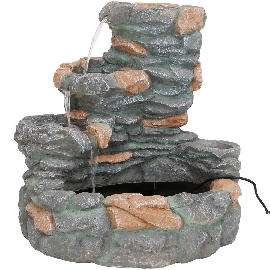 4-Tier Ledgestone Outdoor Waterfall Fountain