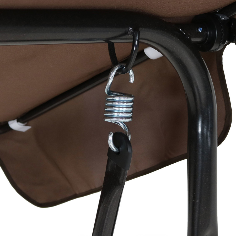 Closeup of Canopy Patio Swing Frame, Brown