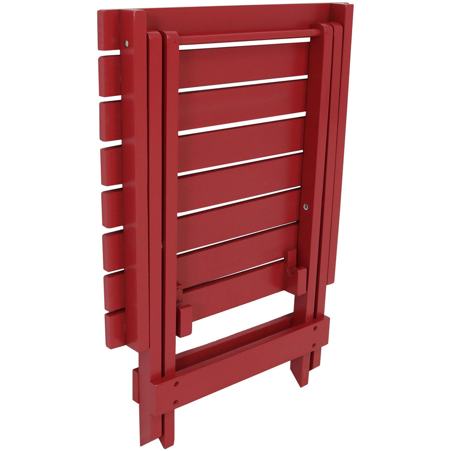 Folded Wooden Multi-Use Folding Side Table, Red