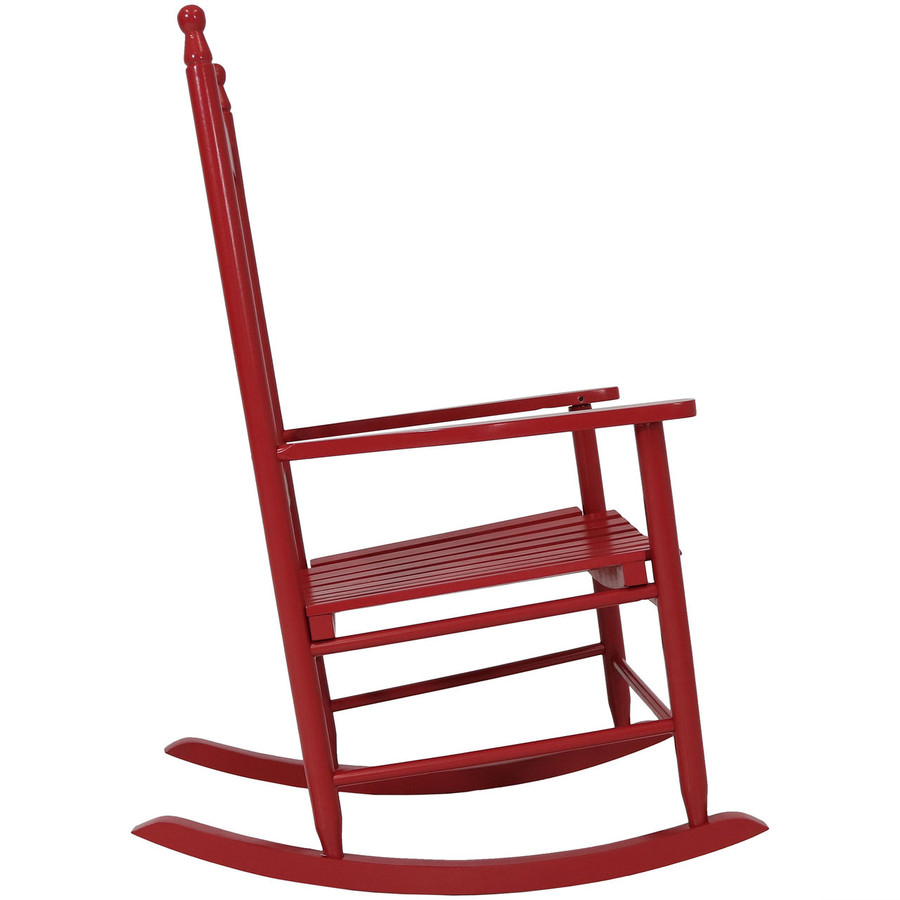 Side View of Wooden Rocking Chair, Red