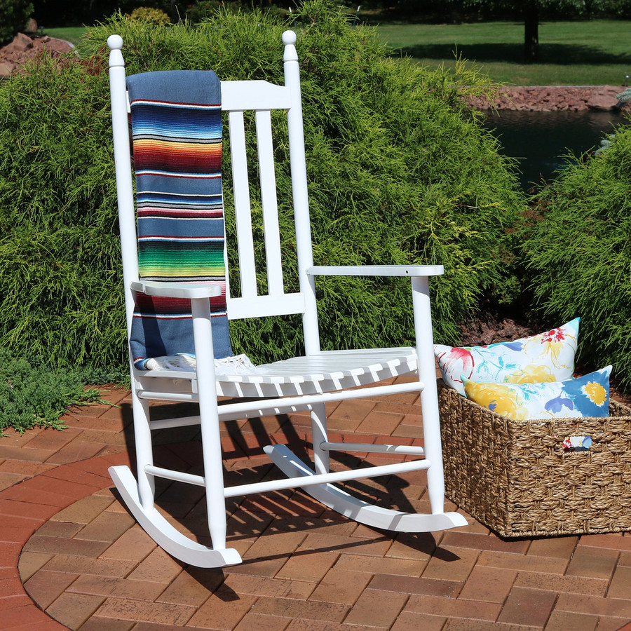 Sunnydaze Wooden Rocking Chair with Non-Toxic Paint Finish