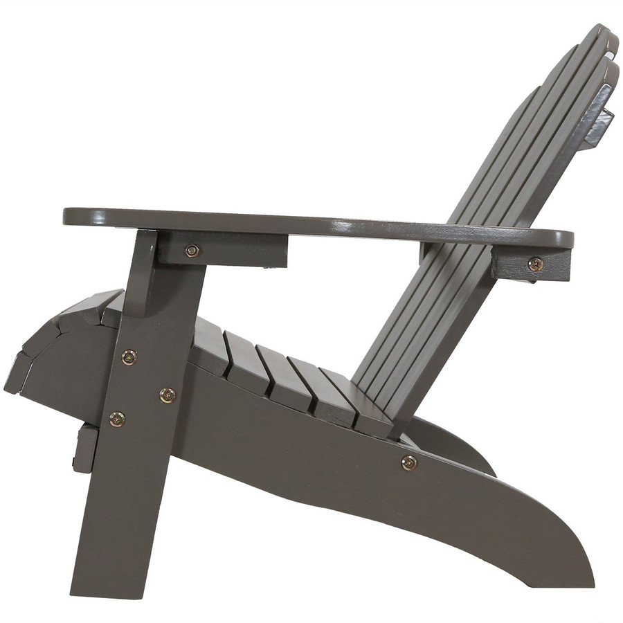 Side View of Child-Size Classic Wooden Adirondack Chair, Gray