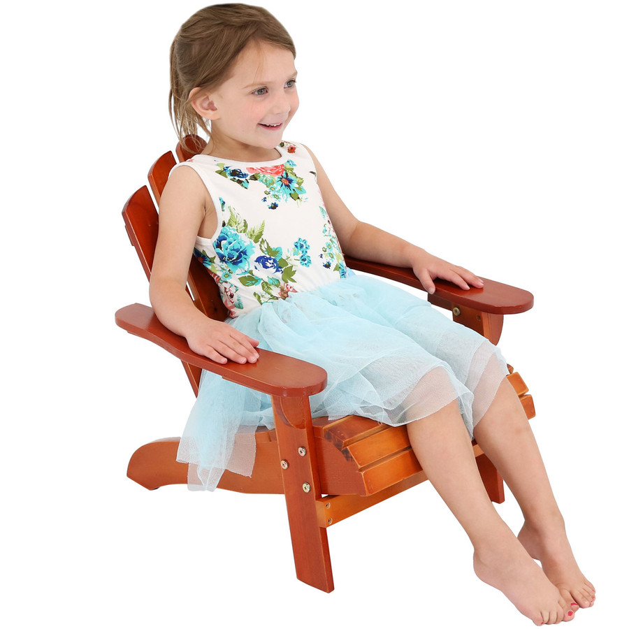 Child-Size Classic Wooden Adirondack Chair, Brown
