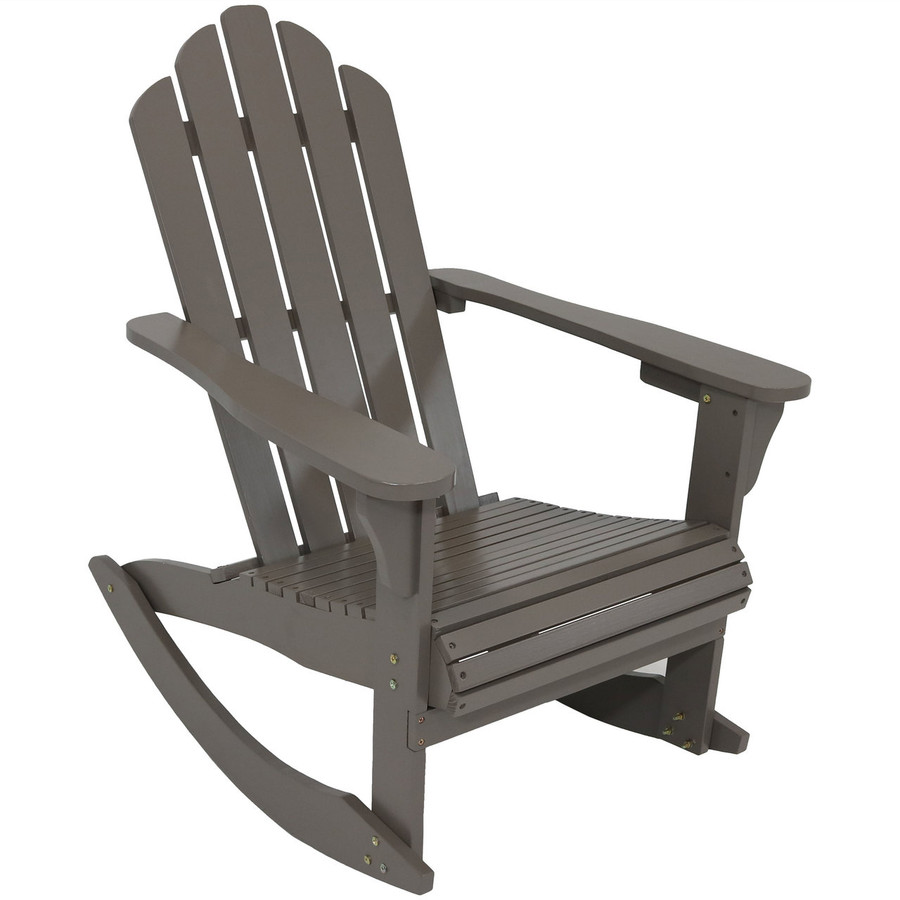 Outdoor Wooden Adirondack Rocking Chair, Gray