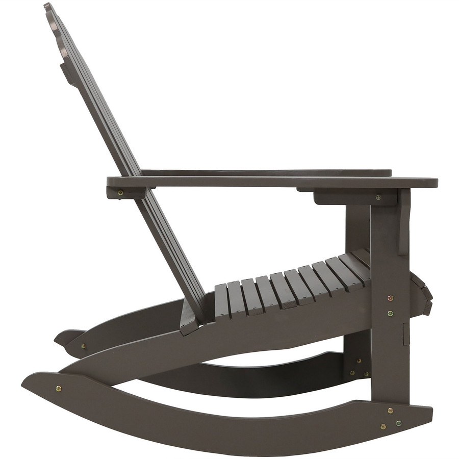 Side View of Outdoor Wooden Adirondack Rocking Chair, Gray