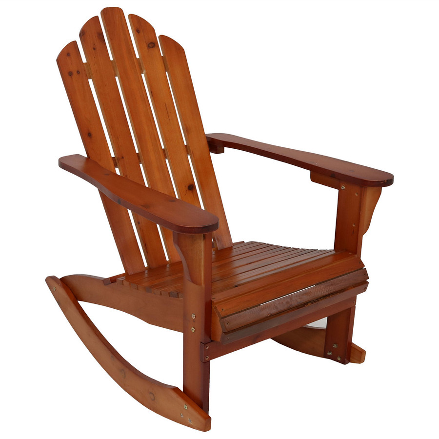 Outdoor Wooden Adirondack Rocking Chair, Brown