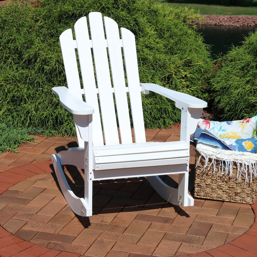 Outdoor Wooden Adirondack Rocking Chair, White